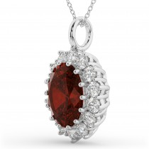 Oval Garnet & Diamond Halo Pendant Necklace 14k White Gold (6.40ct)