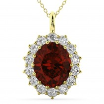Oval Garnet & Diamond Halo Pendant Necklace 14k Yellow Gold (6.40ct)
