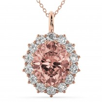 Oval Morganite & Diamond Halo Pendant Necklace 14k Rose Gold (6.40ct)