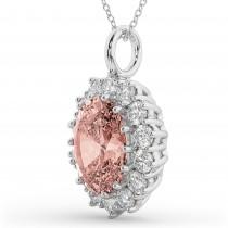 Oval Morganite & Diamond Halo Pendant Necklace 14k White Gold (6.40ct)
