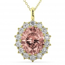 Oval Morganite & Diamond Halo Pendant Necklace 14k Yellow Gold (6.40ct)