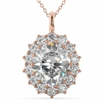 Oval Moissanite & Diamond Halo Pendant Necklace 14k Rose Gold (6.40ct)