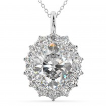 Oval Moissanite & Diamond Halo Pendant Necklace 14k White Gold (6.40ct)