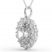 Oval Moissanite & Diamond Halo Pendant Necklace 14k White Gold (6.40ct)