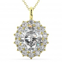 Oval Moissanite & Diamond Halo Pendant Necklace 14k Yellow Gold (6.40ct)