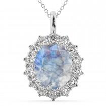 Oval Moonstone & Diamond Halo Pendant Necklace 14k White Gold (6.40ct)
