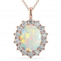 Oval Opal & Diamond Halo Pendant Necklace 14k Rose Gold (6.40ct)