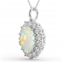 Oval Opal & Diamond Halo Pendant Necklace 14k White Gold (6.40ct)