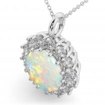 Oval Opal & Diamond Halo Pendant Necklace 14k White Gold (6.40ct)