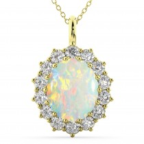 Oval Opal & Diamond Halo Pendant Necklace 14k Yellow Gold (6.40ct)