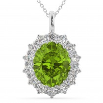 Oval Peridot & Diamond Halo Pendant Necklace 14k White Gold (6.40ct)