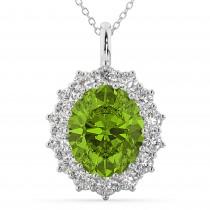 Oval Peridot & Diamond Halo Pendant Necklace 14k White Gold (6.40ct)