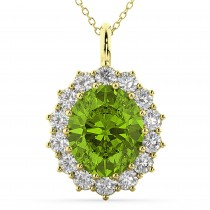 Oval Peridot & Diamond Halo Pendant Necklace 14k Yellow Gold (6.40ct)