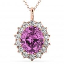 Oval Pink Sapphire & Diamond Halo Pendant Necklace 14k Rose Gold (6.40ct)
