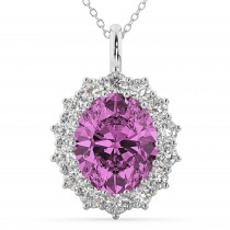 Oval Pink Sapphire & Diamond Halo Pendant Necklace 14k White Gold (6.40ct)