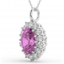 Oval Pink Sapphire & Diamond Halo Pendant Necklace 14k White Gold (6.40ct)
