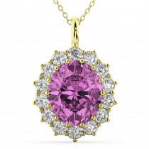 Oval Pink Sapphire & Diamond Halo Pendant Necklace 14k Yellow Gold (6.40ct)