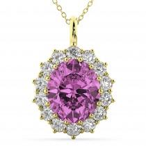 Oval Pink Sapphire & Diamond Halo Pendant Necklace 14k Yellow Gold (6.40ct)