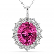 Oval Pink Tourmaline & Diamond Halo Pendant Necklace 14k White Gold (6.40ct)