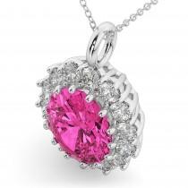 Oval Pink Tourmaline & Diamond Halo Pendant Necklace 14k White Gold (6.40ct)