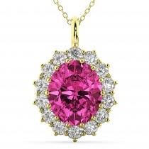 Oval Pink Tourmaline & Diamond Halo Pendant Necklace 14k Yellow Gold (6.40ct)
