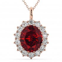 Oval Ruby & Diamond Halo Pendant Necklace 14k Rose Gold (6.40ct)