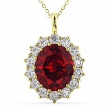 Oval Ruby & Diamond Halo Pendant Necklace 14k Yellow Gold (6.40ct)