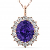Oval Tanzanite & Diamond Halo Pendant Necklace 14k Rose Gold (6.40ct)