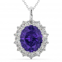 Oval Tanzanite & Diamond Halo Pendant Necklace 14k White Gold (6.40ct)
