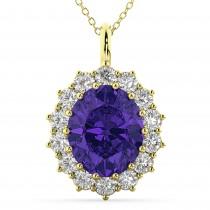 Oval Tanzanite & Diamond Halo Pendant Necklace 14k Yellow Gold (6.40ct)