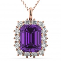 Emerald Cut Amethyst & Diamond Pendant 14k Rose Gold (5.68ct)