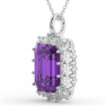 Emerald Cut Amethyst & Diamond Pendant 14k White Gold (5.68ct)