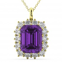Emerald Cut Amethyst & Diamond Pendant 14k Yellow Gold (5.68ct)