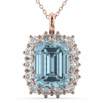 Emerald Cut Aquamarine & Diamond Pendant 14k Rose Gold (5.68ct)