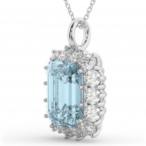Emerald Cut Aquamarine & Diamond Pendant 14k White Gold (5.68ct)