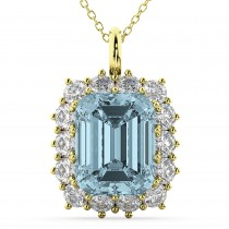 Emerald Cut Aquamarine & Diamond Pendant 14k Yellow Gold (5.68ct)