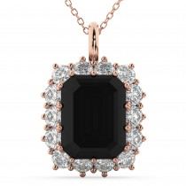 Emerald Cut Black Diamond & Diamond Pendant 14k Rose Gold (5.68ct)