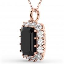 Emerald Cut Black Diamond & Diamond Pendant 14k Rose Gold (5.68ct)