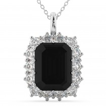 Emerald Cut Black Diamond & Diamond Pendant 14k White Gold (5.68ct)