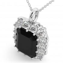 Emerald Cut Black Diamond & Diamond Pendant 14k White Gold (5.68ct)
