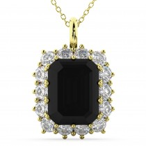 Emerald Cut Black Diamond & Diamond Pendant 14k Yellow Gold (5.68ct)