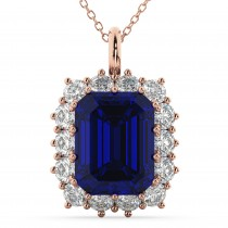 Emerald Cut Blue Sapphire & Diamond Pendant 14k Rose Gold (5.68ct)