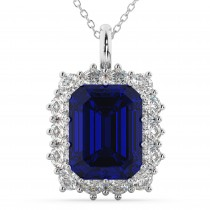 Emerald Cut Blue Sapphire & Diamond Pendant 14k White Gold (5.68ct)