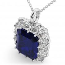 Emerald Cut Blue Sapphire & Diamond Pendant 14k White Gold (5.68ct)
