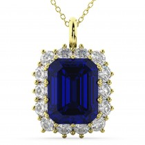 Emerald Cut Blue Sapphire & Diamond Pendant 14k Yellow Gold (5.68ct)