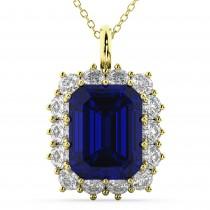 Emerald Cut Blue Sapphire & Diamond Pendant 14k Yellow Gold (5.68ct)