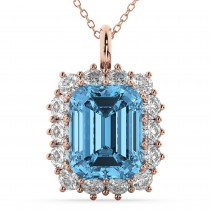 Emerald Cut Blue Topaz & Diamond Pendant 14k Rose Gold (5.68ct)