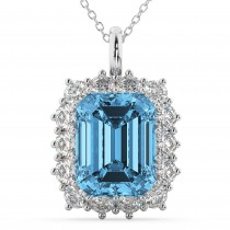 Emerald Cut Blue Topaz & Diamond Pendant 14k White Gold (5.68ct)