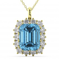 Emerald Cut Blue Topaz & Diamond Pendant 14k Yellow Gold (5.68ct)