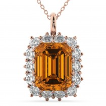 Emerald Cut Citrine & Diamond Pendant 14k Rose Gold (5.68ct)